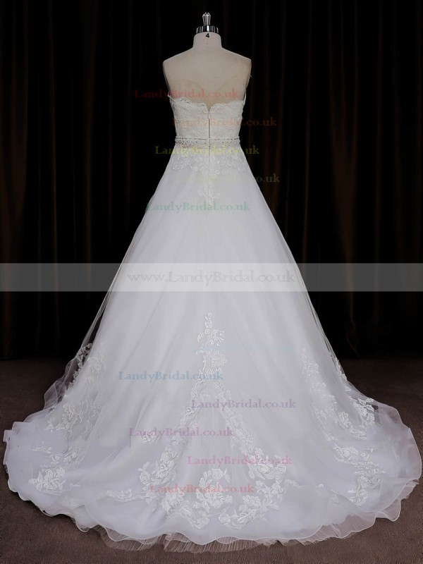 A-line Sashes / Ribbons Sweep Train Ivory Tulle Best Wedding Dresses #LDB00022067