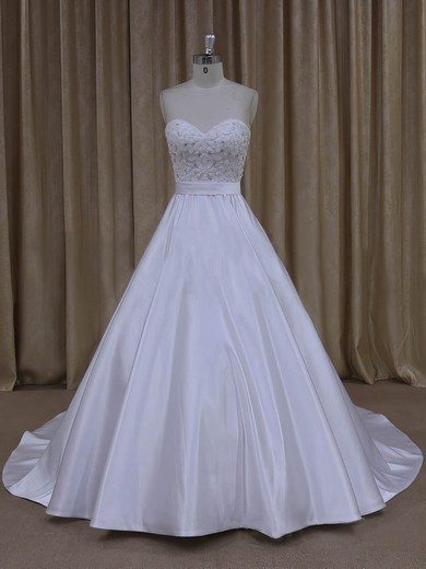 Sweetheart Beading Court Train White Satin Discount Wedding Dresses #LDB00022068