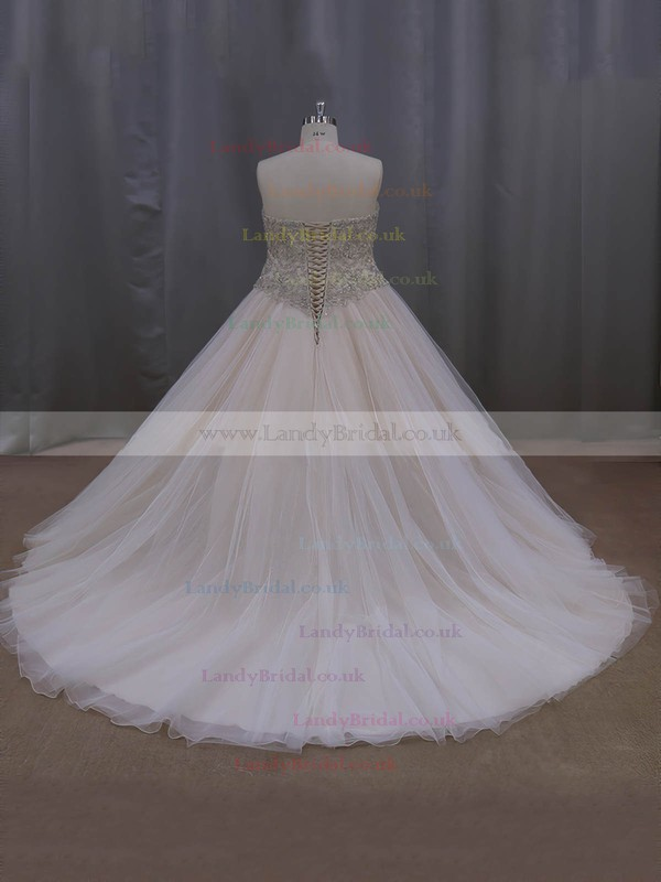 Sweetheart Crystal Detailing Court Train Lace-up Champagne Tulle Wedding Dresses #LDB00022069
