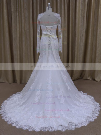 Trumpet/Mermaid Appliques Lace Long Sleeve White Tulle Scoop Neck Wedding Dresses #LDB00022071
