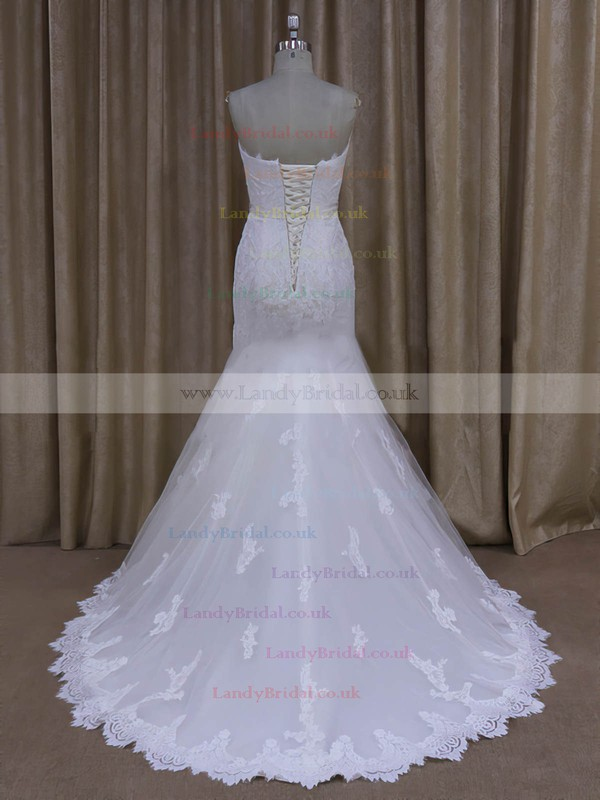 Sweep Train Ivory Tulle Lace Sashes / Ribbons Trumpet/Mermaid Wedding Dresses #LDB00022072