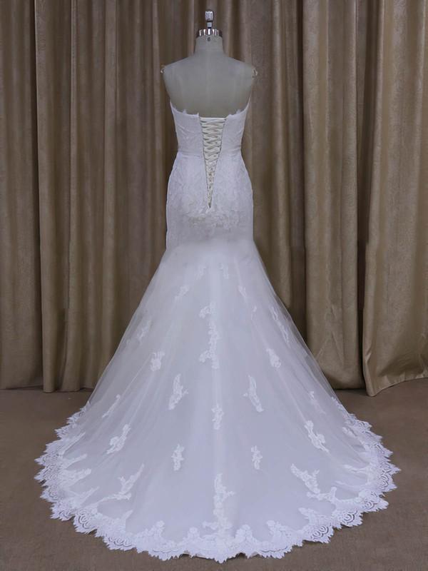 Sweep Train Ivory Tulle Lace Sashes / Ribbons Trumpet/Mermaid Wedding Dresses #LDB00022072
