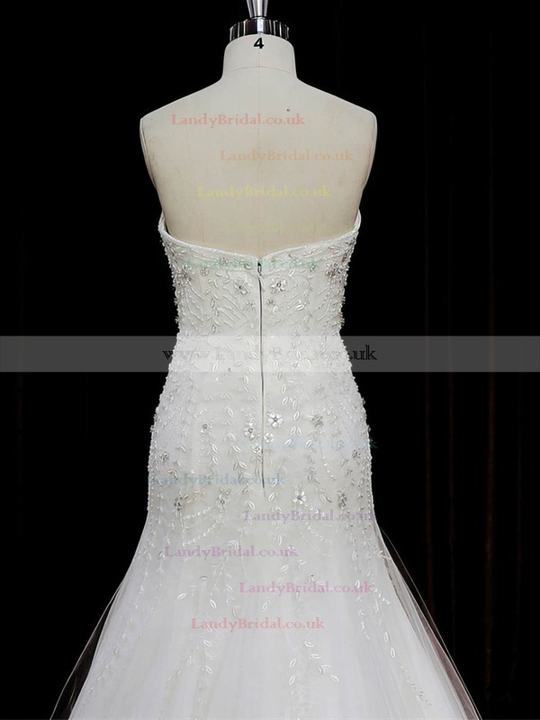 Famous Sweetheart Beading Trumpet/Mermaid Ivory Tulle Wedding Dresses #LDB00022073