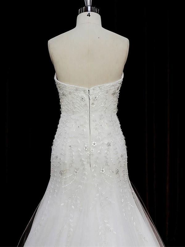 Famous Sweetheart Beading Trumpet/Mermaid Ivory Tulle Wedding Dresses #LDB00022073