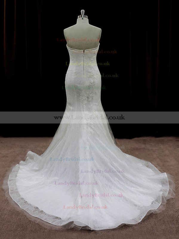 Strapless Appliques Lace Trumpet/Mermaid Ivory Tulle Online Wedding Dresses #LDB00022074