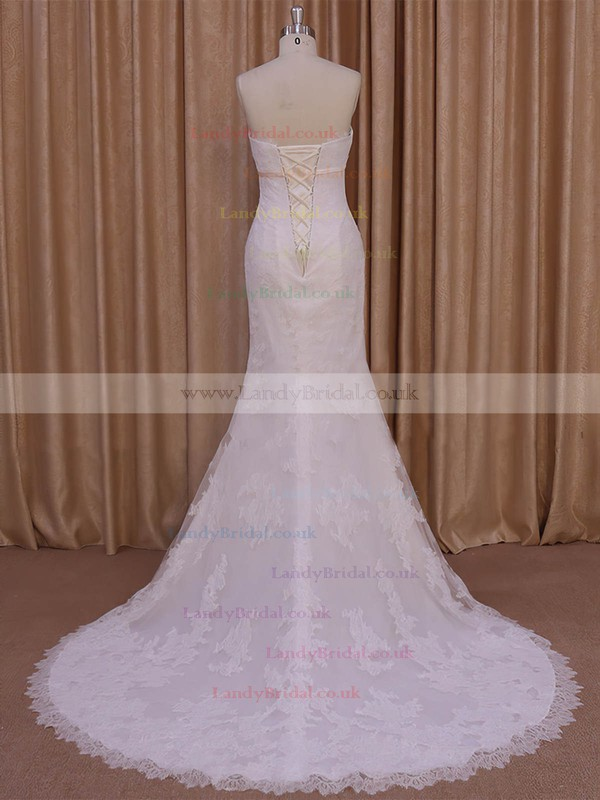 Trumpet/Mermaid Strapless Lace-up Tulle Ivory Appliques Lace Wedding Dresses #LDB00022075