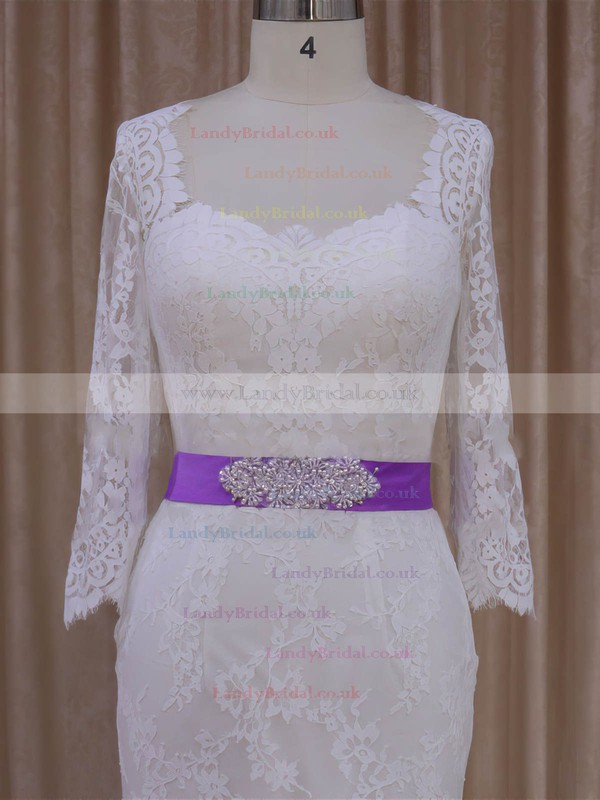 Pretty V-neck Sashes / Ribbons Ivory Lace Trumpet/Mermaid Wedding Dresses #LDB00022076