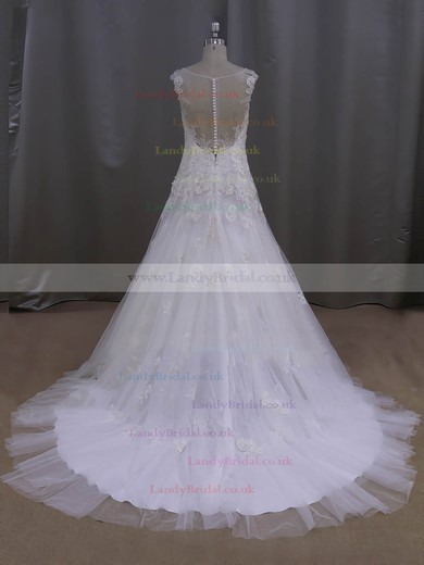 V-neck Ivory Tulle Pearl Detailing Court Train Affordable Wedding Dresses #LDB00022077
