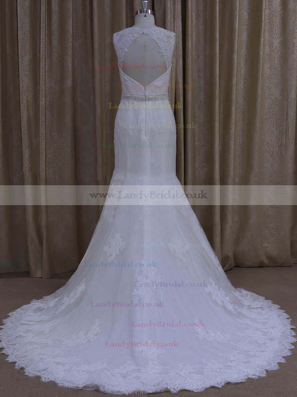 Elegant Trumpet/Mermaid Tulle Ivory Beading Sweetheart Wedding Dresses #LDB00022078