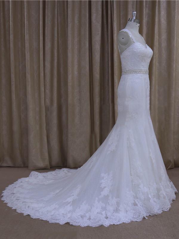 Elegant Trumpet/Mermaid Tulle Ivory Beading Sweetheart Wedding Dresses #LDB00022078