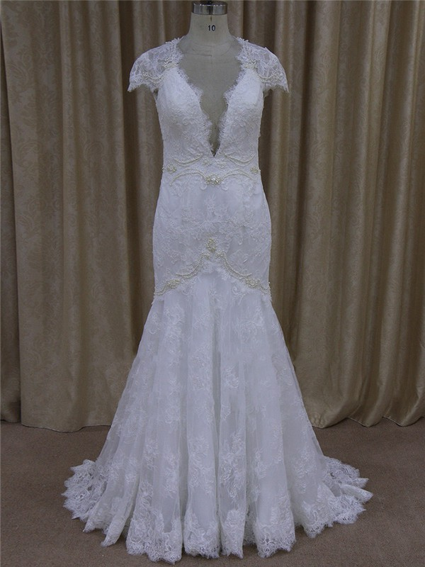 V-neck Appliques Lace White Lace Cap Straps Trumpet/Mermaid Wedding Dresses #LDB00022079