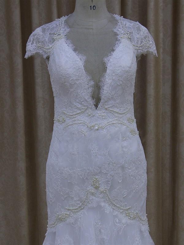 V-neck Appliques Lace White Lace Cap Straps Trumpet/Mermaid Wedding Dresses #LDB00022079