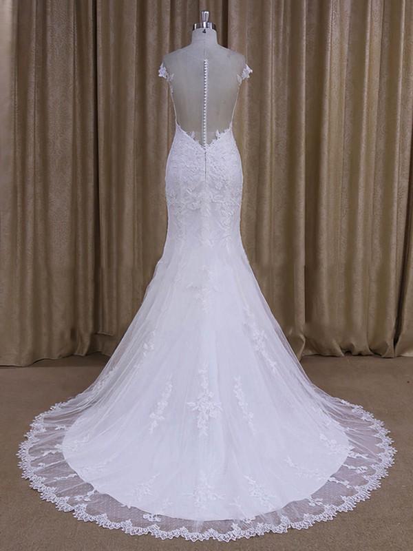 Scoop Neck White Tulle Appliques Lace Cap Straps Court Train Wedding Dresses #LDB00022080