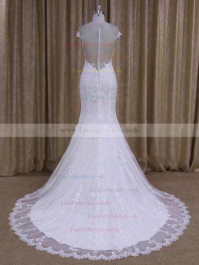 Scoop Neck White Tulle Appliques Lace Cap Straps Court Train Wedding Dresses #LDB00022080