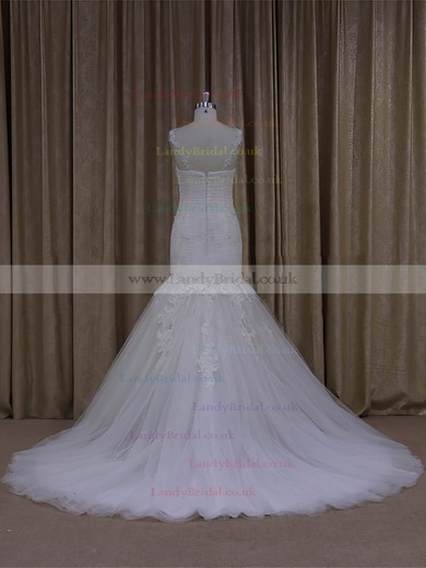 Promotion Trumpet/Mermaid Tulle Sweep Train Appliques Lace Ivory Wedding Dresses #LDB00022081