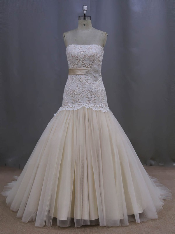Strapless Sashes / Ribbons Lace-up Court Train Champagne Lace Tulle Wedding Dresses #LDB00022082