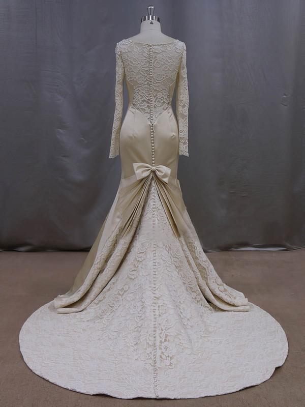 Trumpet/Mermaid Scoop Neck Beading Long Sleeve Champagne Lace Satin Wedding Dresses #LDB00022083