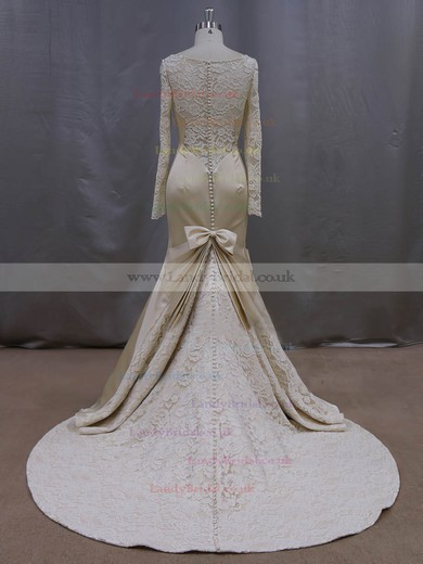 Trumpet/Mermaid Scoop Neck Beading Long Sleeve Champagne Lace Satin Wedding Dresses #LDB00022083