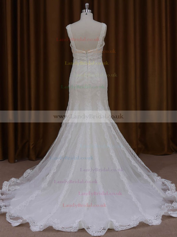 Trumpet/Mermaid V-neck Tulle Beading Court Train Ivory Wedding Dresses #LDB00022084