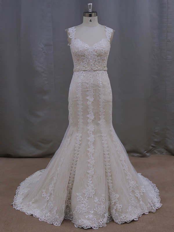 Modest V-neck Beading Trumpet/Mermaid Ivory Lace Tulle Wedding Dresses #LDB00022085
