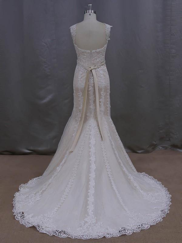 Modest V-neck Beading Trumpet/Mermaid Ivory Lace Tulle Wedding Dresses #LDB00022085