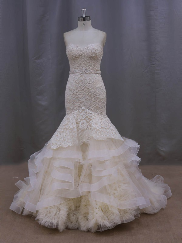 Trumpet/Mermaid Court Train Tiered Champagne Lace Tulle Vintage Wedding Dresses #LDB00022086