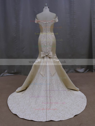 Perfect Off-the-shoulder Bow Court Train Champagne Lace Satin Wedding Dresses #LDB00022087