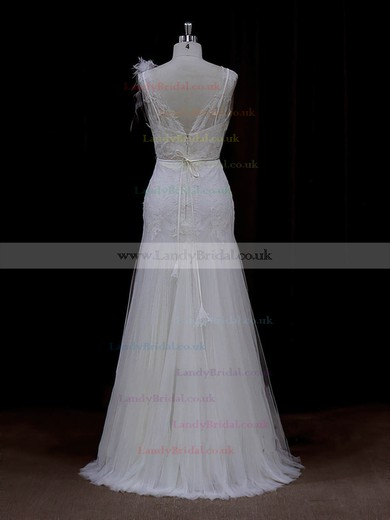 Sheath/Column Appliques Lace Floor-length Ivory Tulle Discounted Wedding Dresses #LDB00022088