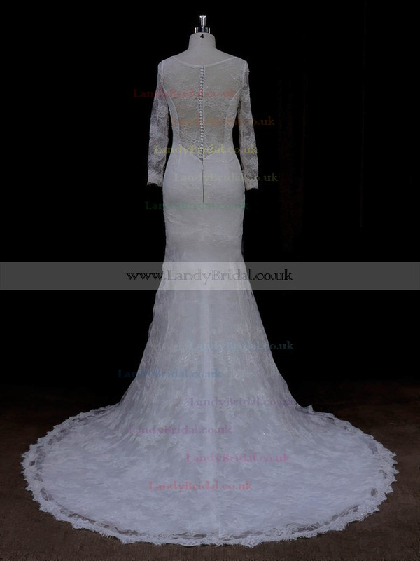 Trumpet/Mermaid Long Sleeve V-neck Lace Sequins Ivory Wedding Dresses #LDB00022089