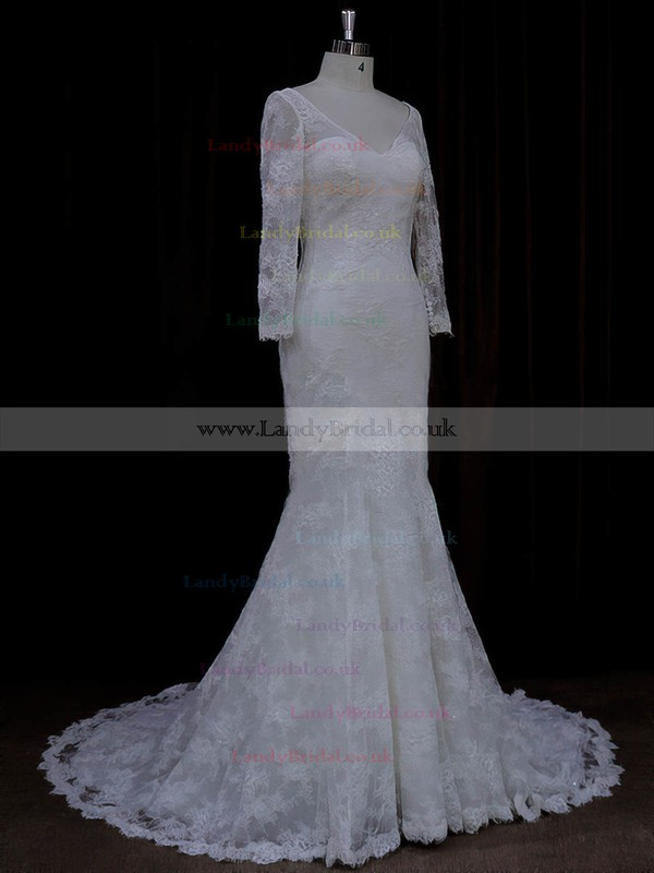 Trumpet/Mermaid Long Sleeve V-neck Lace Sequins Ivory Wedding Dresses #LDB00022089