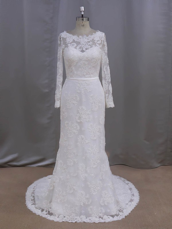 Sheath/Column Ivory Lace Sequins Court Train Long Sleeve Wedding Dresses #LDB00022090
