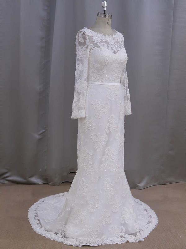 Sheath/Column Ivory Lace Sequins Court Train Long Sleeve Wedding Dresses #LDB00022090