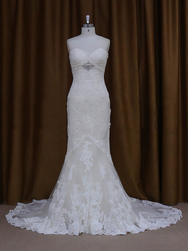 Sweetheart Ivory Lace Tulle Lace-up Beading Chapel Train Wedding Dresses #LDB00022091
