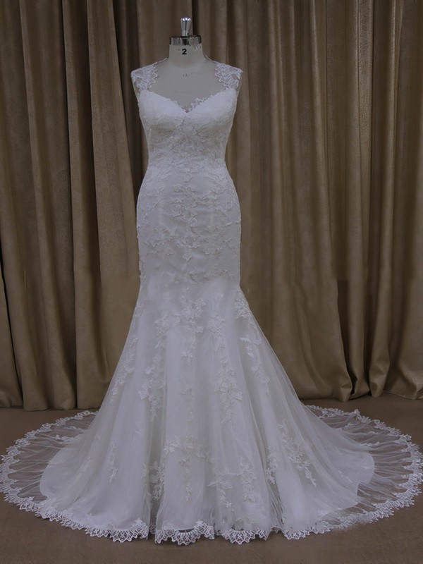 Newest Trumpet/Mermaid V-neck Appliques Lace Ivory Tulle Wedding Dresses #LDB00022092