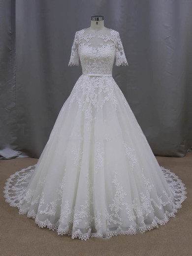 Ball Gown Scoop Neck Tulle Appliques Lace 1/2 Sleeve Ivory Wedding Dresses #LDB00022093