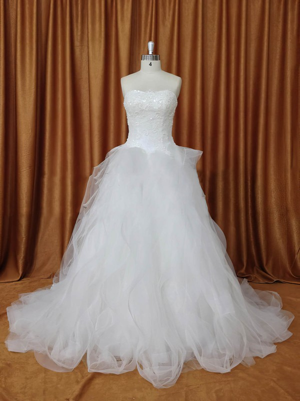 Strapless Appliques Lace Chapel Train Ivory Tulle Boutique Wedding Dresses #LDB00022094