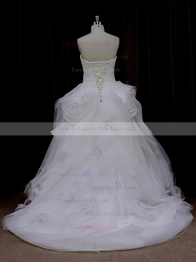 Sweetheart Ruffles Ivory Tulle Lace-up Princess Wedding Dresses #LDB00022095