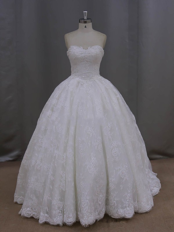 Sweetheart Ivory Lace Beading Lace-up Cathedral Train Wedding Dresses #LDB00022096