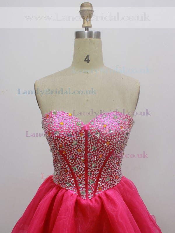 Cute Sweetheart Fuchsia Organza with Beading Short/Mini Prom Dress #LDB020100543