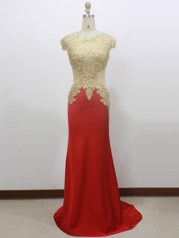 Unique Red Elastic Woven Satin Appliques Lace Scoop Neck Trumpet/Mermaid Prom Dress #LDB020100544