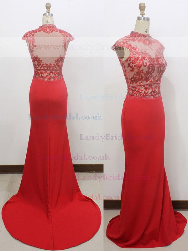 Red Elastic Woven Satin Beading Cap Straps Trumpet/Mermaid High Neck Prom Dress #LDB020100545