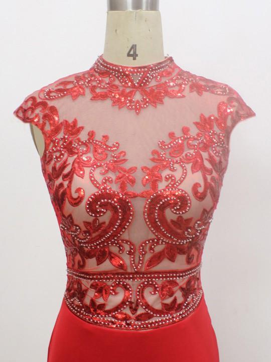 Red Elastic Woven Satin Beading Cap Straps Trumpet/Mermaid High Neck Prom Dress #LDB020100545