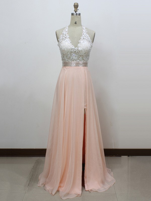 Halter Chiffon with Split Front Pearl Pink Sexy Open Back Prom Dress #LDB020100547