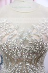 White Scoop Neck Satin Tulle Pearl Detailing Hot Trumpet/Mermaid Prom Dress #LDB020100548