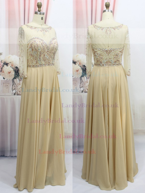 Scoop Neck Chiffon Tulle with Beading 3/4 Sleeve Fashion Prom Dress #LDB020100549