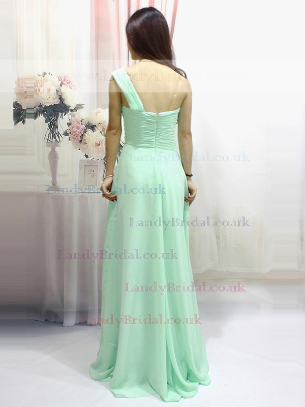 Wholesale Green Ruffles Chiffon Floor-length One Shoulder Prom Dress #LDB020100550