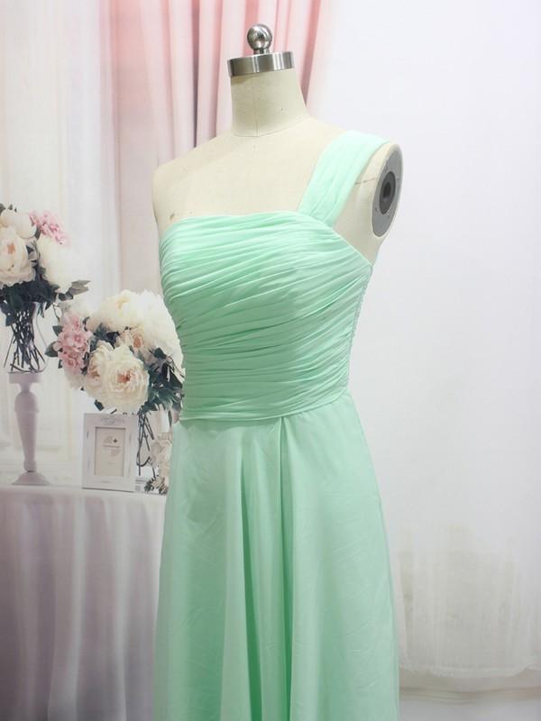 Wholesale Green Ruffles Chiffon Floor-length One Shoulder Prom Dress #LDB020100550