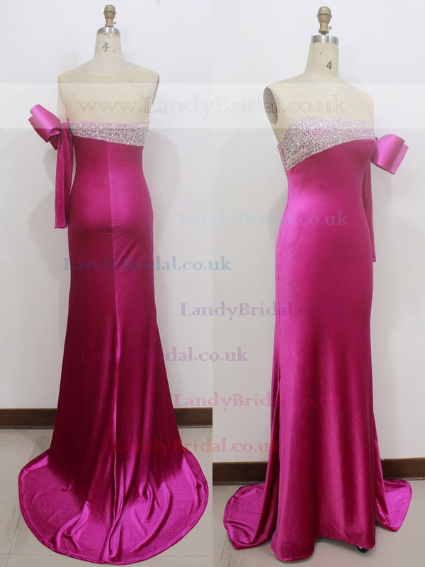 Trumpet/Mermaid Scoop Neck Fuchsia Silk-like Satin with Bow Long Sleeve Prom Dress #LDB020100553