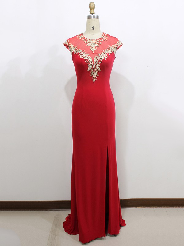 Top Sheath/Column Red Tulle Silk-like Satin Cap Straps Split Front Prom Dress #LDB020100554