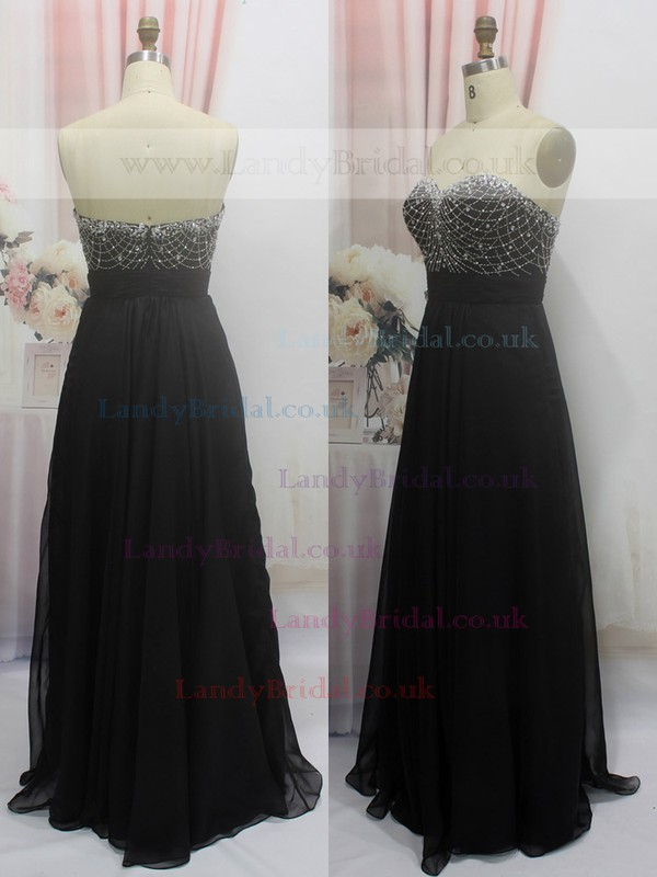 Promotion Sweetheart Chiffon Beading Floor-length Black Prom Dress #LDB020100555